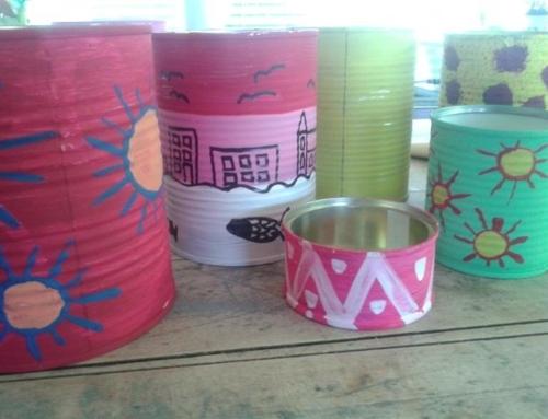 Pomeriggi di riciclo: Coloriamo le lattine!//Let's paint cans!// Wir bemalen Konservendosen – Recycle Nachmittag für Kinder